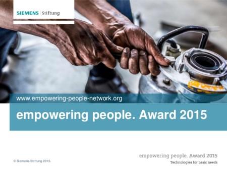 Empowering People Award 2015 un concurso para crear tecnologías limpias