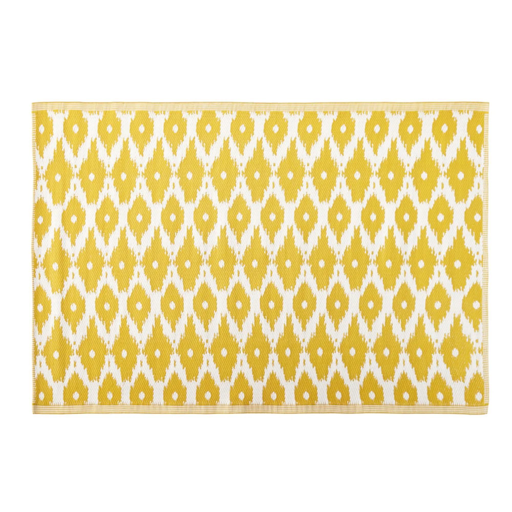 DATHU.- Alfombra de exterior amarilla con motivos decorativos blancos 140x200 cms