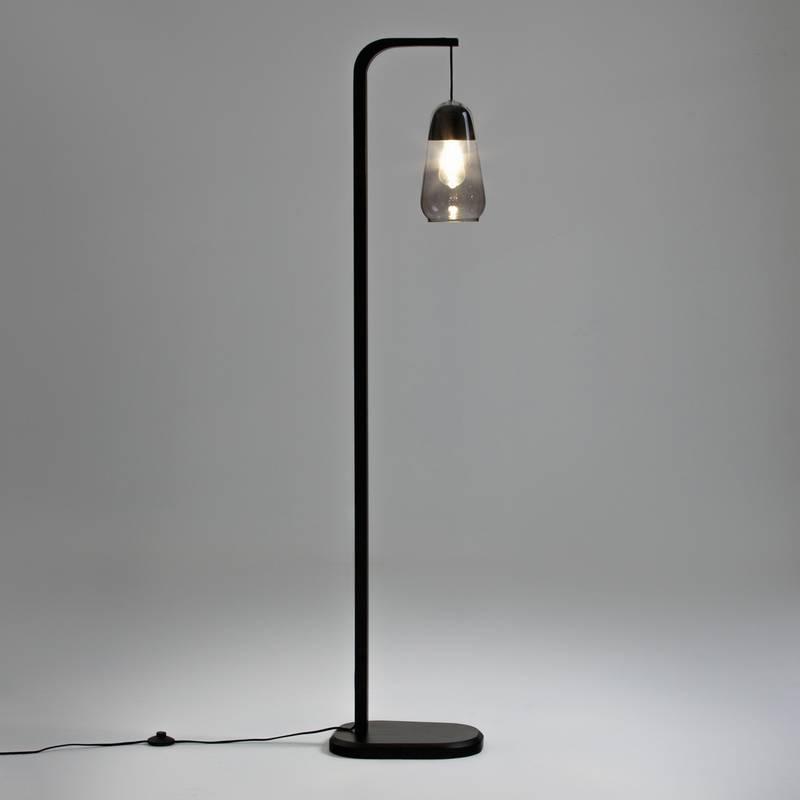 Lámpara de pie en madera y vidrio Nasoa