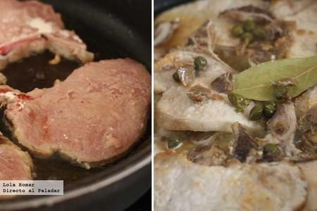 Chuletas de cerdo con alcaparras y anchoas. Paso a paso