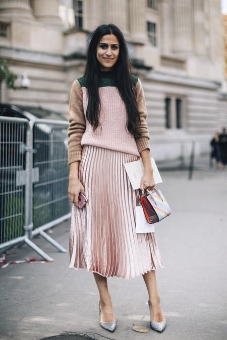 falda midi plisada street style inspiracion