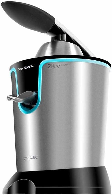 Cecotec Zitrus Adjust 160 Black - Exprimidor Eléctrico, con Filtro Regulador de Pulpa de Acero Inoxidable, Dos Conos Desmontables de Diferentes Tamaños, Apto para Lavavajillas, 160 W, Plata