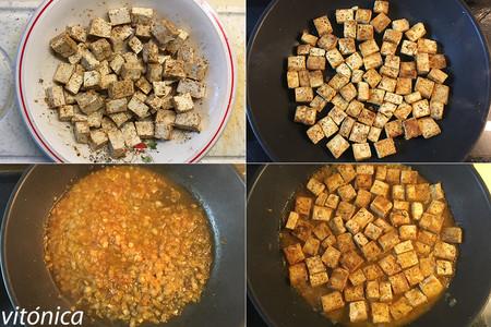 Tofu en salsa de Mandarina. Pasos