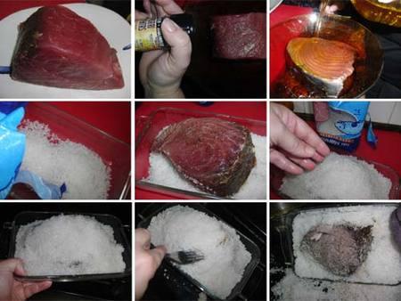 Preparación del atún a la sal