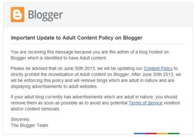 Blogger dice NO a los blogs con contenido para adultos que tengan anuncios