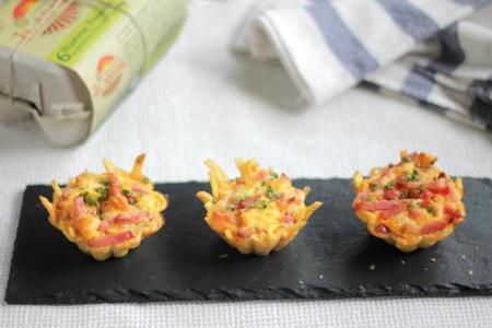 Receta de Mini nidos de patatas con queso y bacon