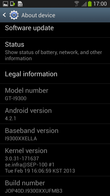 Android 4.2.1 en el Samsung Galaxy S III