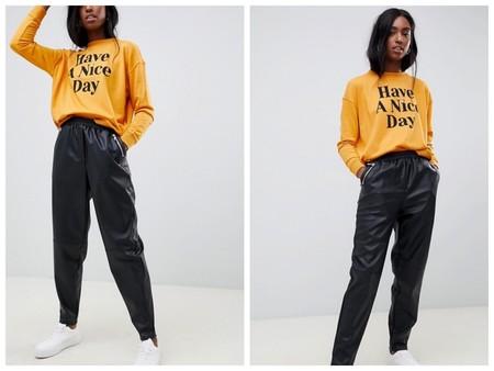 Pantalones Joggers Cuero