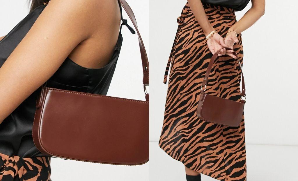 Bolso de hombro marrón chocolate de cuero de estilo años 90 de ASOS DESIGN