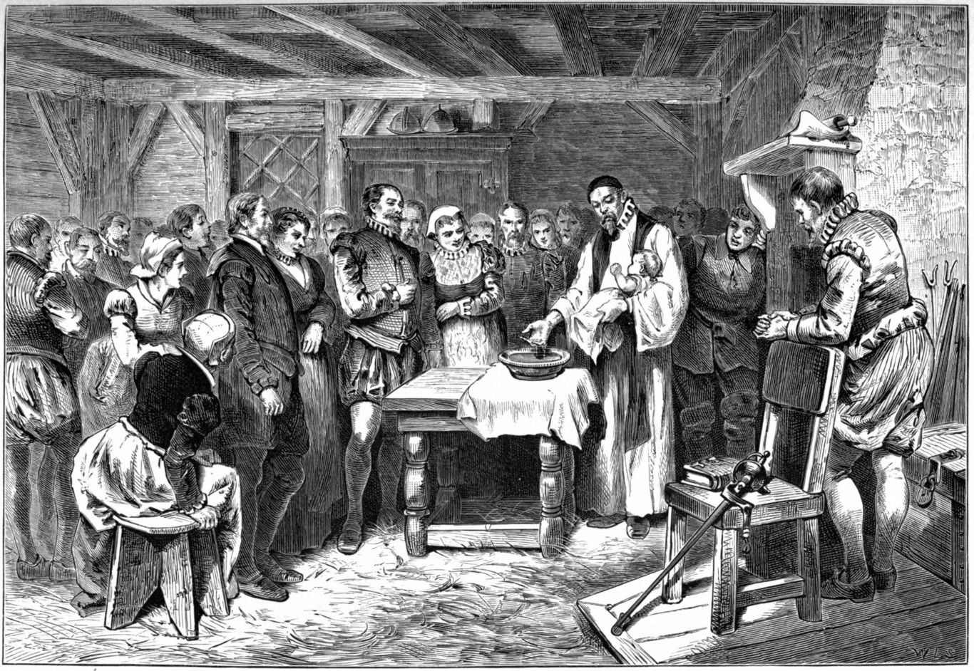 Grabado que representa el bautizo de Virginia Dare.