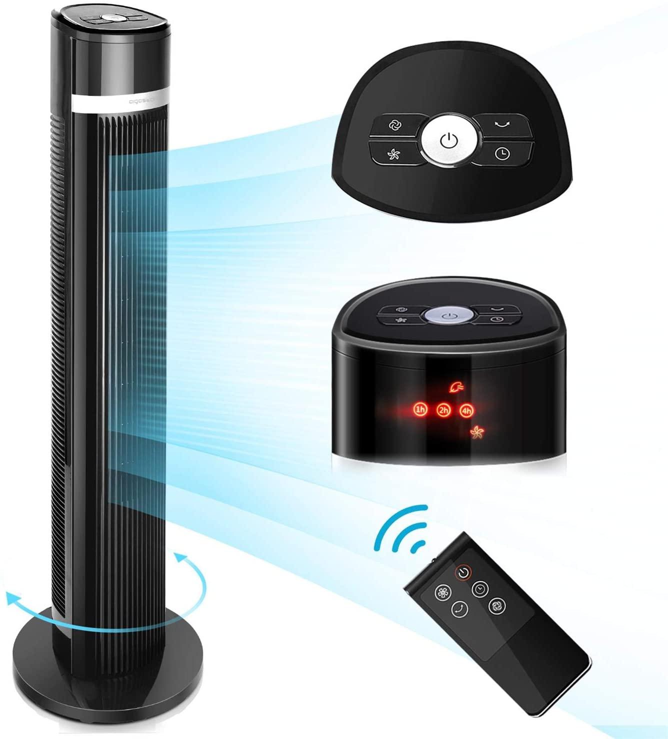 Aigostar Ross– Ventilador Torre Silencioso, Ventilador de Torre con Mando, 103cm Ventilador con 3 Velocidades y 3 Modos, 35W, Oscilación de 60°, Temporizador 7H, Pantalla LED,Negro