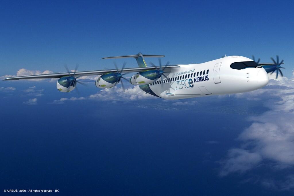 La última proposición de Airbus aire aviones con propulsores de hidrógeno enteramente independientes y modulares