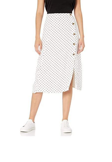 Marca Amazon - Kumiko Falda Midi Con Botón Lateral Y Abertura Lateral - skirts Mujer por The Drop