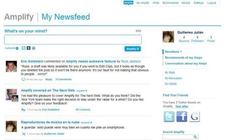 El NewsFeed de Amplify, muy similar al de Twitter o Tumblr.