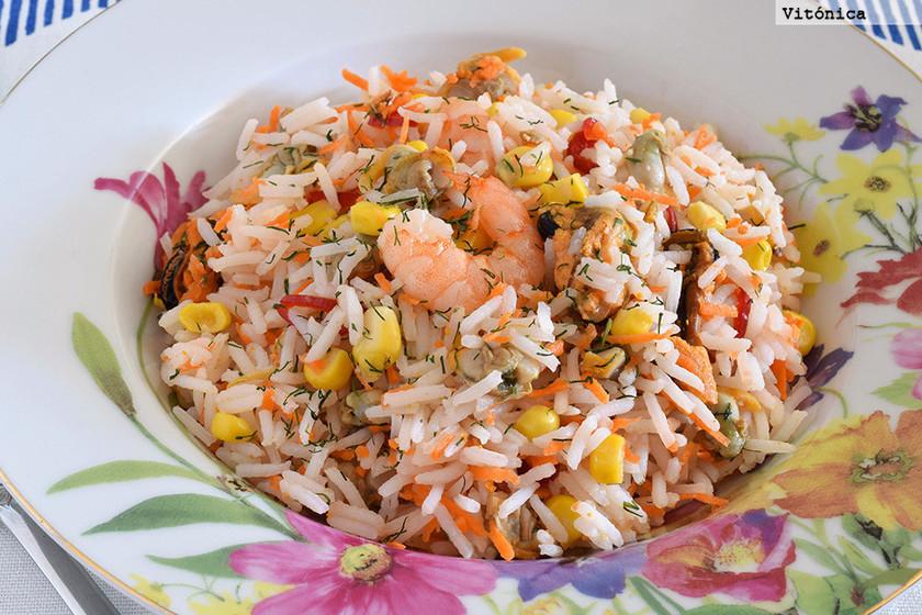 arroz blanco con champiñones light