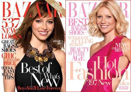 Gwyneth Paltrow y Jessica Biel portada de la revista Harper's Bazaar