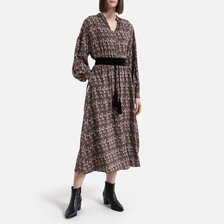 Vestido largo de manga larga, estampado