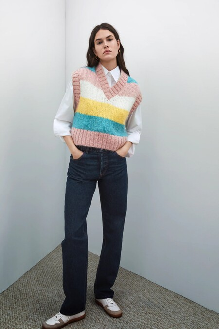 Zara Chaleco Punto Color Pastel 03