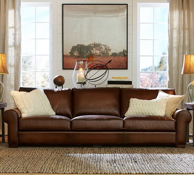 Turner Roll Arm Leather Sofa O1