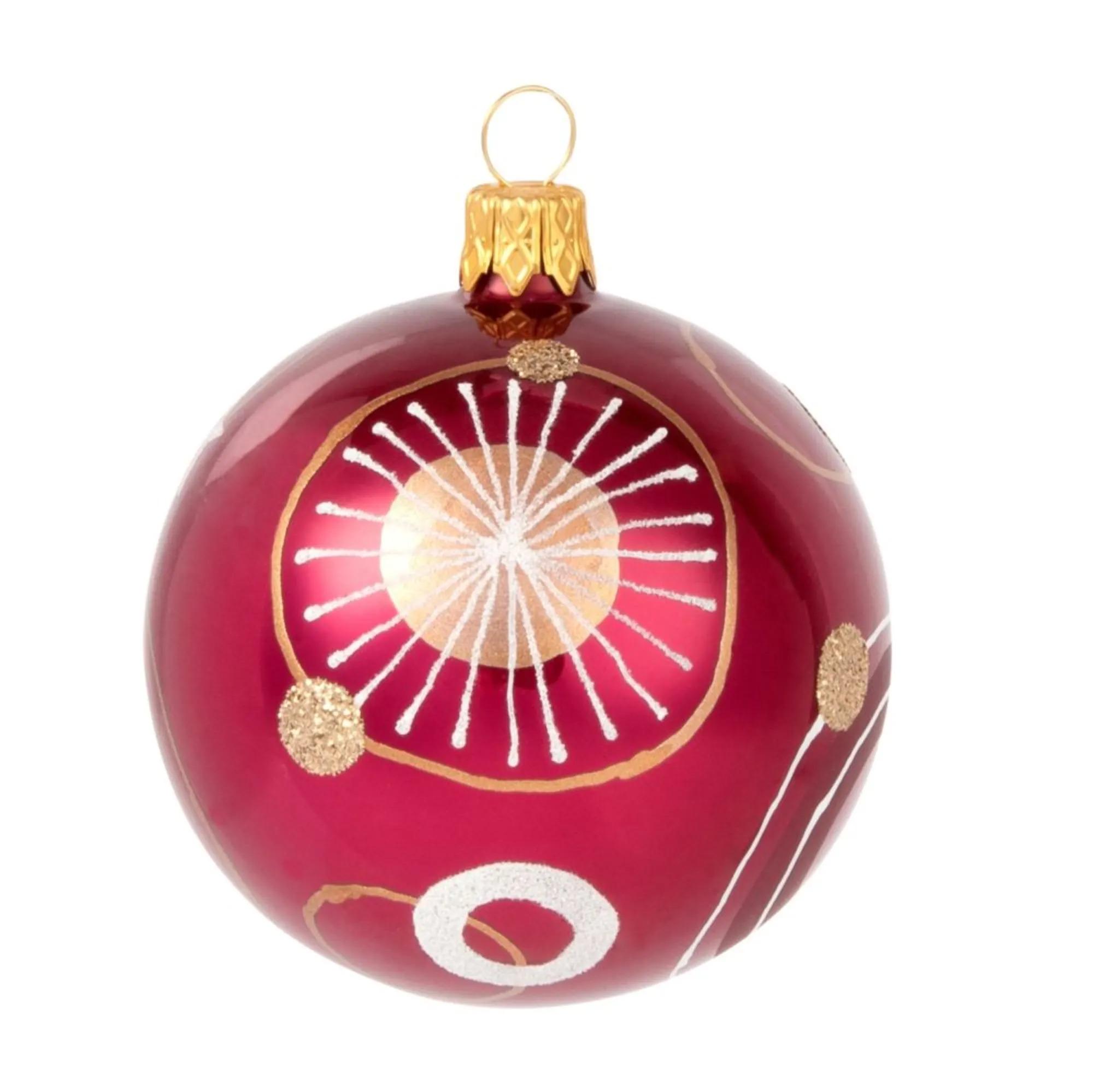 BUBBLES.- Bola de Navidad de cristal rojo con estampado gráfico - Lote de 6 14,70 €