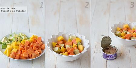Ensalada tropical de mango, papaya y aguacate con atún Isabel paso a paso