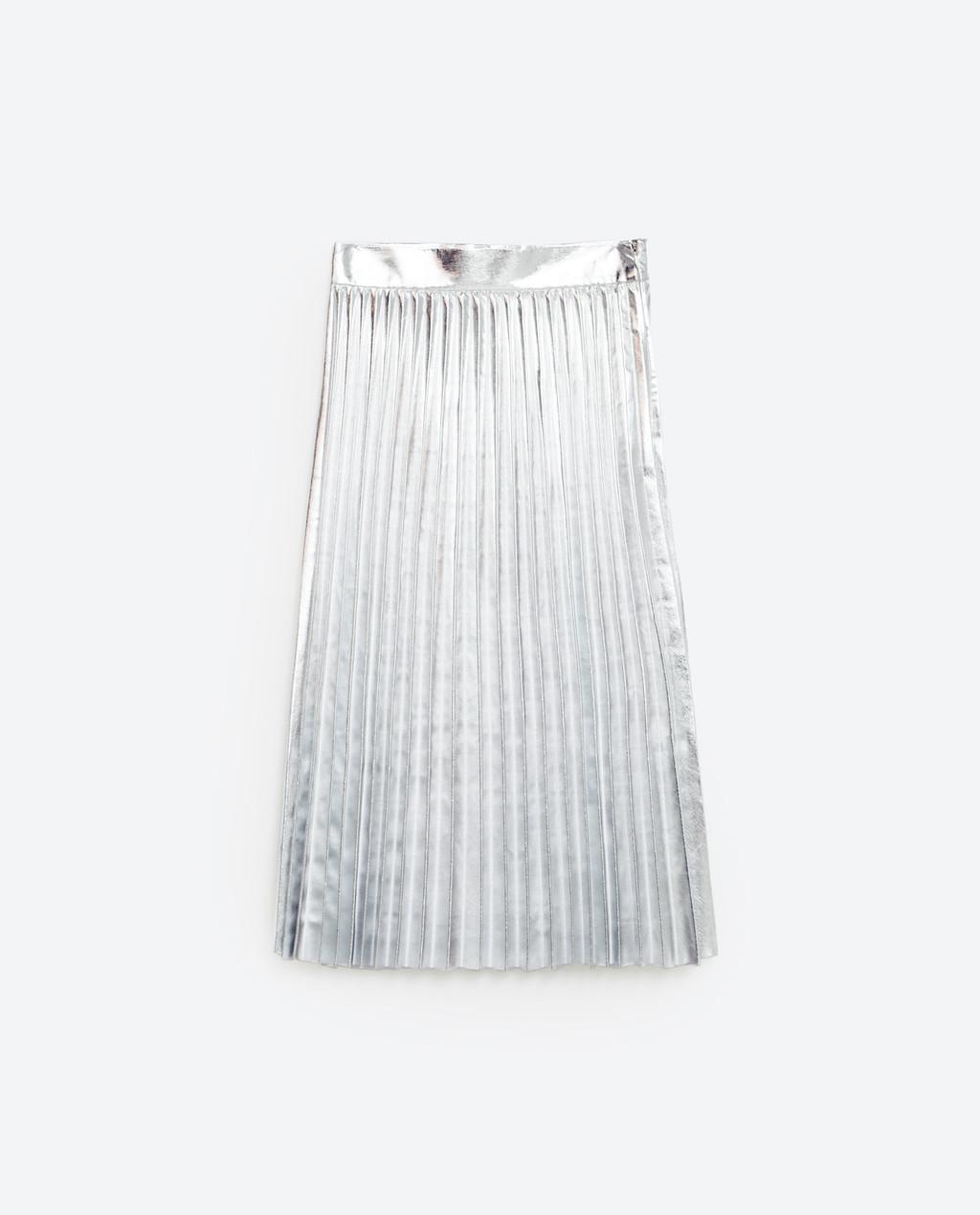 Falda plateada de Zara