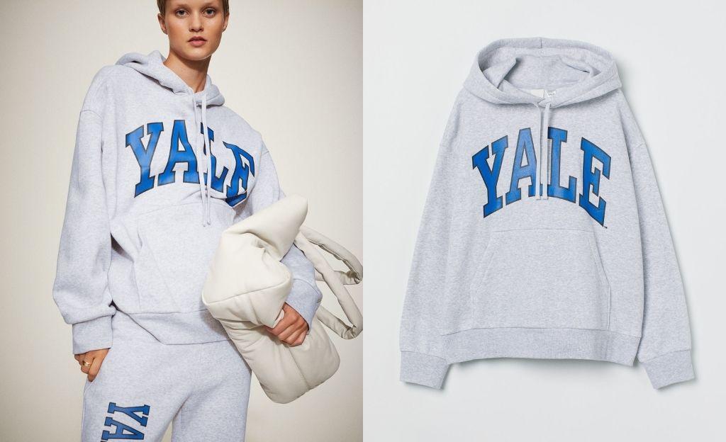 Sudadera con capucha y motivo de Yale