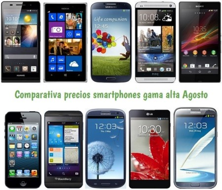 Comparativa Precios Galaxy S4, Lumia 925, HTC One, Xperia Z, iPhone 5 y otros gama alta en Agosto de 2013