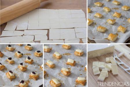 Bocados hojaldrados de brie y arándanos - elaboración