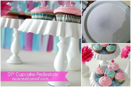 Pedestales para cupcakes con moldes