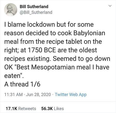 Profesor Bill Sutherland Recetas Mesopotamicas Tweet 1