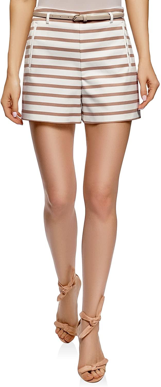 Oodji Ultra Mujer Pantalón Corto de Algodón con Cinturón