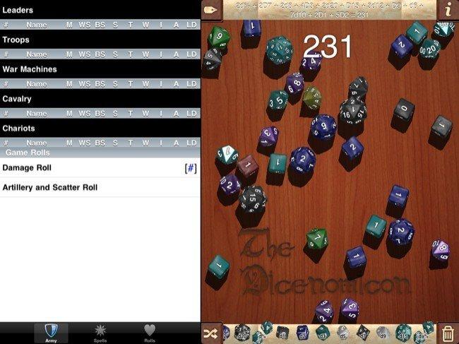 The Dicenomicon, dados, tiradas, cálculos, fichas de personaje y un largo etcétera en iOS