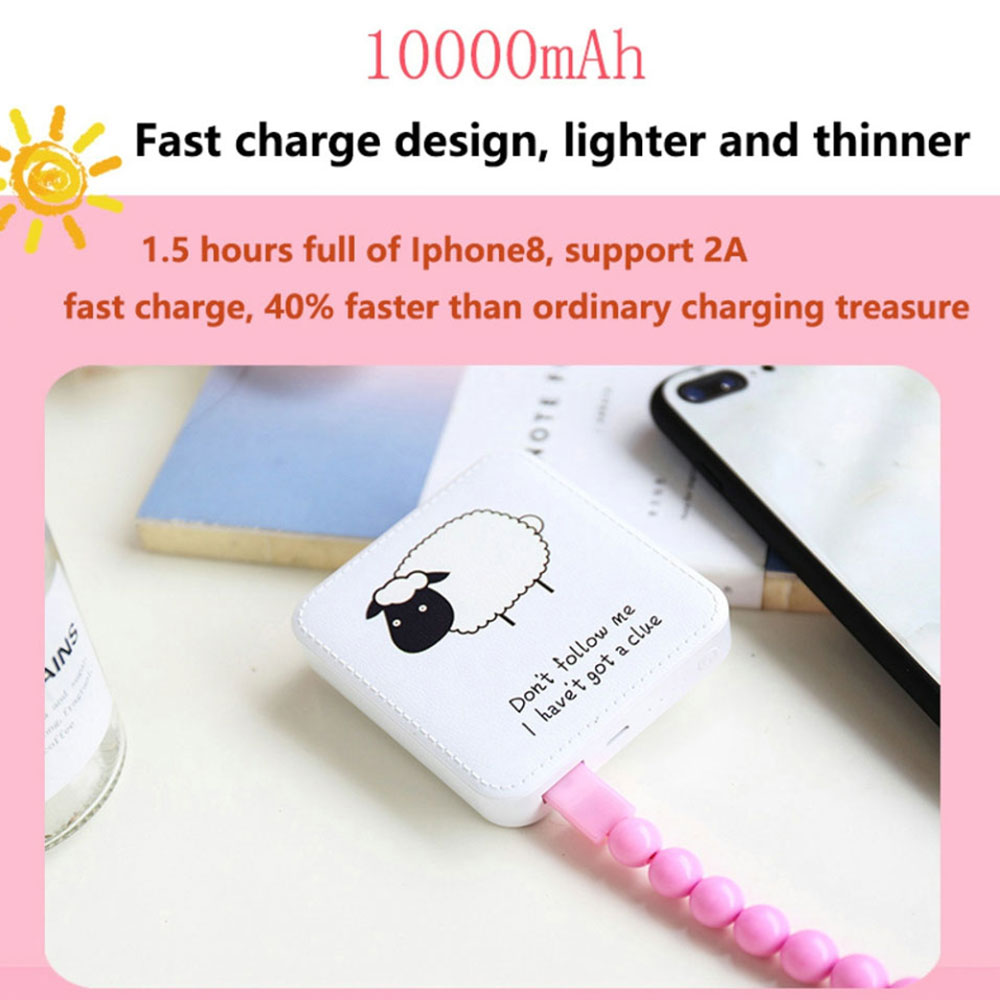 KISSCASE Cute Mini Power Bank 10000mAh USB cargador de batería externa para iPhone Xiaomi banco de energía portátil para Samsung Poverbank