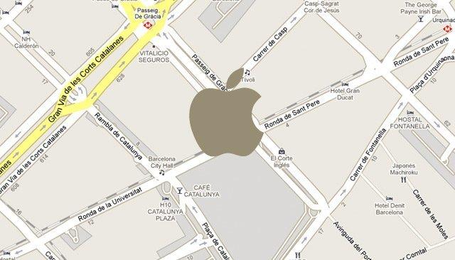 apple significant store barcelona mapa plaza cataluña paseo de gracia