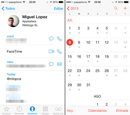 Contactos y Calendarios de iOS 7 beta 3