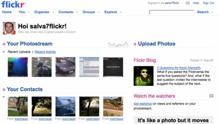 Flickr cambia la página de inicio