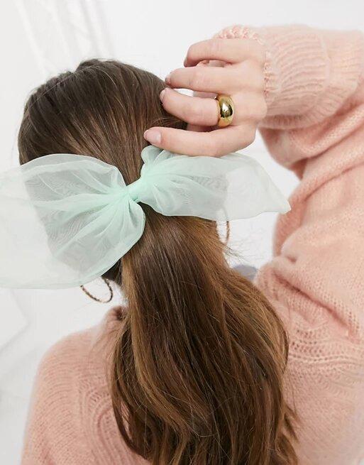 Lazo para el cabello verde de organza de ASOS DESIGN