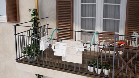 13 tendederos plegables y extensibles para barandillas de balcones pequeños