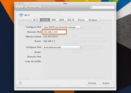 configurar ip manual en mac