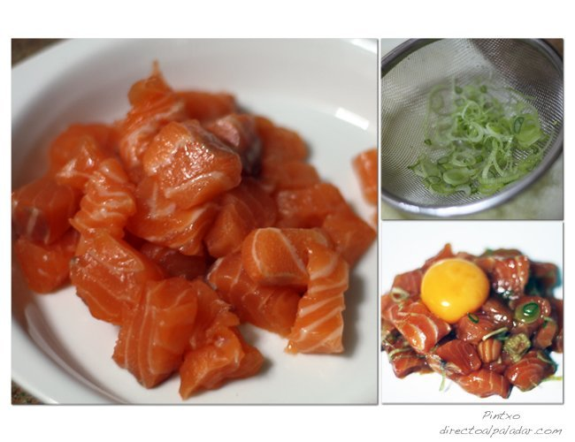 Tartar de salmón. Pasos