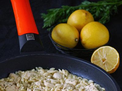 Pollo al limón con gurullos. Receta