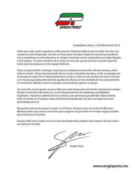 Carta Checo Pérez McLaren