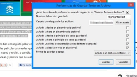 """Guarda el texto que selecciones en Firefox en un archivo con """"Save Text to File"""""""