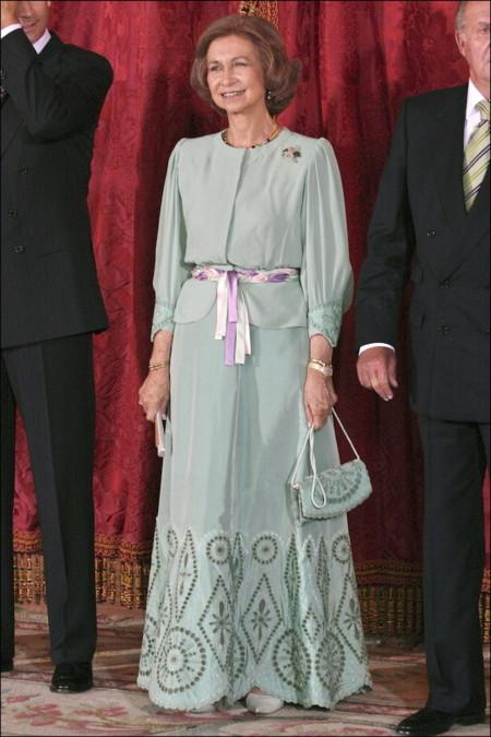 La reina Doña Sofía en la recepción al presidente de Costa Rica (2007)
