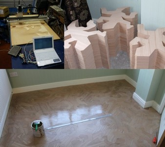 Un parquet inspirado en Escher y fabricado en casa