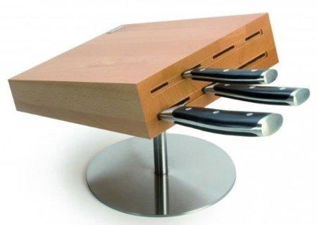 Taco para cuchillos rotatorio en madera de haya