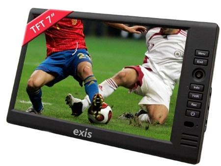 Televisión portátil Exis S70 de 7 pulgadas, con TDT y grabación