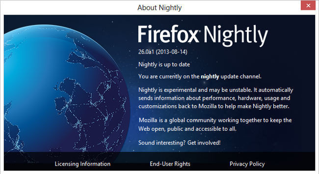 Nuevo logotipo del canal Firefox Nightly