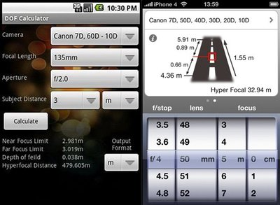 DoF Calculator y Simple DoF Calculator. Calcula la profundidad de campo en Android y iOS